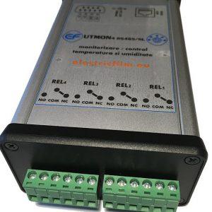 Sistem monitorizare temperatura si umiditate 4 senzori serial RS485 4 iesiri relee