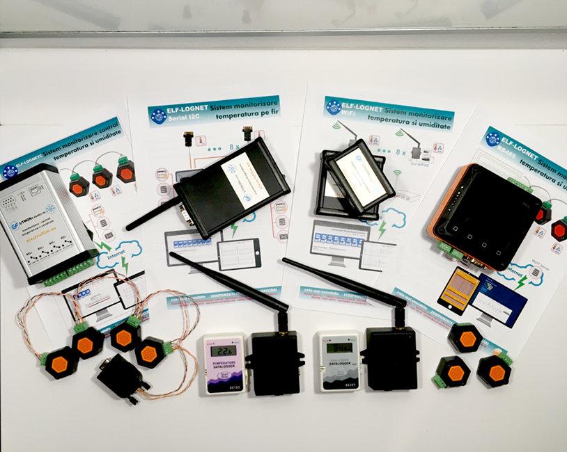 Sisteme de monitorizare temperatura si umiditate senzori WIFI fara fir remote serial RS485 serial I2C